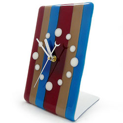 Contemporary Candy Stripe Fused Glass Tabletop Clock