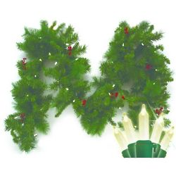 Battery-Operated 9 Foot Anchorage Fir Garland with LED Lights