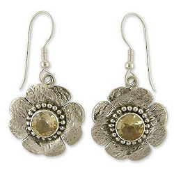 Citrine Buttercup Flower Earrings