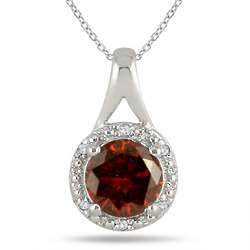 Sterling Silver Garnet and Diamond Pendant