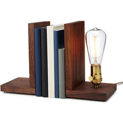 Walnut Wood Bookend Lamp