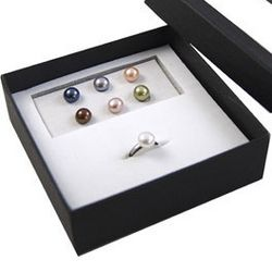 Sterling Silver Changeable Freshwater Pearl Ring Boxed Gift Set