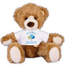 "New Baby Boy Personalized 12"" Teddy Bear"