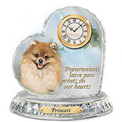 Linda Picken Pomeranian Crystal Clock with Dog's Name
