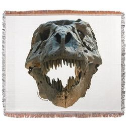 T-Rex Skull Woven Blanket