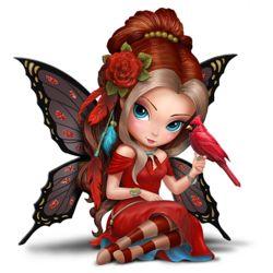 Jasmine Becket-Griffith Fairy with Cardinal Figurine