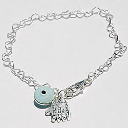 Hamsa Hand and Evil Eye Charms on Hearts Bracelet