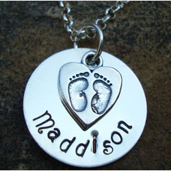Sterling Silver Baby Name with Feet Charm Necklace