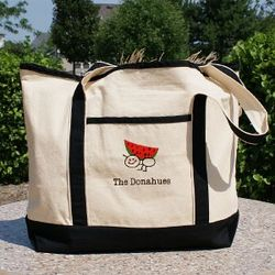 Embroidered Picnic Canvas Tote Bag