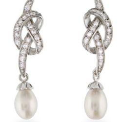 Vintage Style CZ Freshwater Pearl Drop Earrings