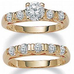 14k Gold-Plated DiamonUltra Cubic Zirconia Wedding Ring Set