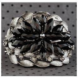 Dazzling Star Burst Jeweled Hinged Metal Bracelet