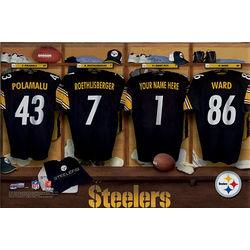 Personalized 16 x 24 Pittsburgh Steelers Locker Room Print