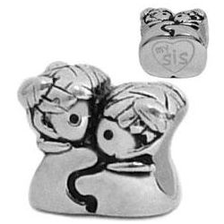 Big Sister, Lil Sister Sterling Silver European Charm Bead