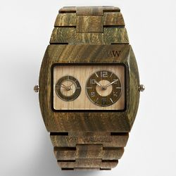 Army Brown Dual Time Zone Wooden Watch