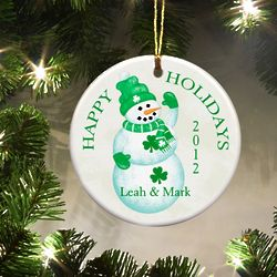 Personalized Irish Lucky Snowman Ornament