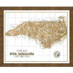 Wood Framed Old Map of North Carolina