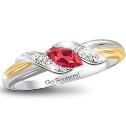 Pride of Oklahoma Sooners Ruby Embrace Ring