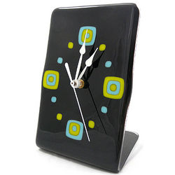 Contemporary Mod Squares Fused Glass Tabletop Clock