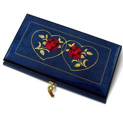 Royal Blue Double Red Rose and Heart Musical Jewelry Box