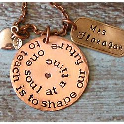 Hand Stamped Teacher Necklace