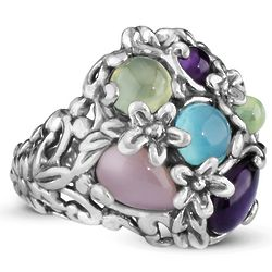 Sterling Silver Pastel Floral Bold Ring