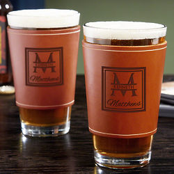 2 Oakhill Pint Glasses with Personalized Leather Wraps