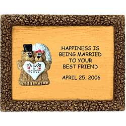 Married Couple Bear on Personalized Plaque