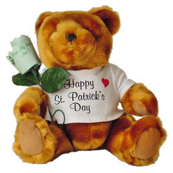 St. Patrick's Teddy Bear and Personalized Paper Rose