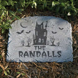Personalized Halloween Arched Haunted House Stepping Stone