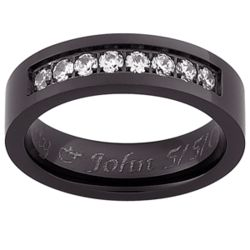 Mens Flat Black Titanium CZ Engraved Message Band