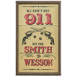 Smith and Wesson Wood Wall Sign