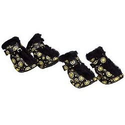 Yellow and Black Furry Dog Boots