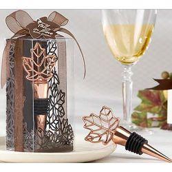 Lustrous Leaf Copper-Finish Bottle Stopper Wedding Favors