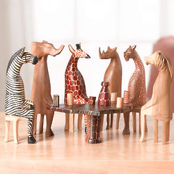 Party Animals Wooden Sculpture