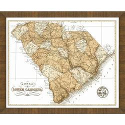 Wood Framed Old Map of South Carolina