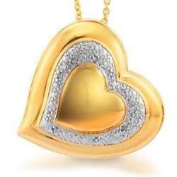 18K Gold Plated Diamond Heart Pendant
