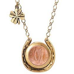 Irish Penny Horseshoe Necklace with Green Aventurine Stones