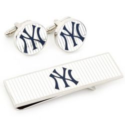 Personalized Yankees Pinstripe Cuff Links and Money Clip