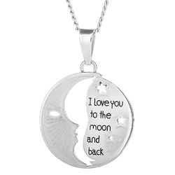 I Love You To The Moon and Back Cut-Out Stainless Steel Pendant