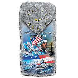 US Navy Honor, Courage, and Commitment Wall Clock