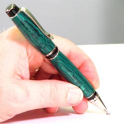 Handmade Malachite Trustone Pen with Platinum Accents