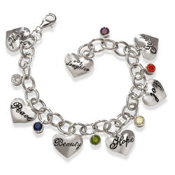 Love My Daughter Sterling Heart Charm Bracelet