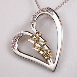 Silver Broken Heart with Pink CZ Stones Mended with 14k Gold