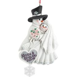 Engraved Bride and Groom Snow Couple Ornament