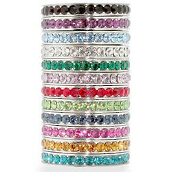 Birthstone CZ Sterling Silver Stackable Eternity Band