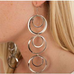 Descending Hoops Drop Chain Metal Earrings