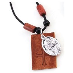 St. Christopher Leather Rope Necklace