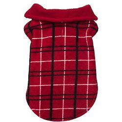 Reversible Red and Black Plaid Cozy Dog Coat
