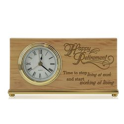 Retirement Time for Living Wooden Desk Clock